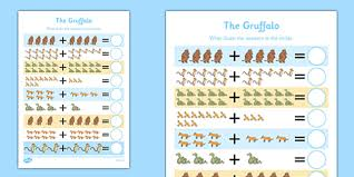 the gruffalo addition activity sheet up to 20 the gruffalo