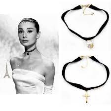 velvet ribbon necklace images Hot sale vintage pearl gold cross simple velvet ribbon choker jpg