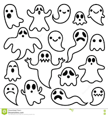 cartoon halloween ghost scary ghosts design halloween characters icons set stock vector