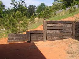 Pictures Of Retaining Wall Ideas by Creative Wood Retaining Wall From Old Railroad Wood Retaining Wall