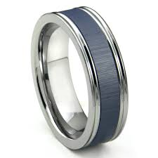 mens blue wedding bands tungsten carbide blue ceramic inlay wedding band ring w