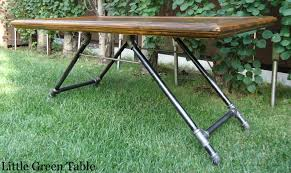 wood and gas pipe coffee table little green table