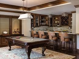 Pool Table In Living Room Beige Area Rug Brown Bar Stools Pool Table Crown Molding Wine