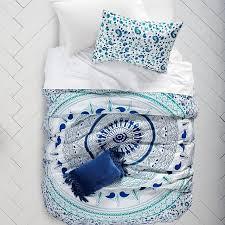 blue green medallion bedding