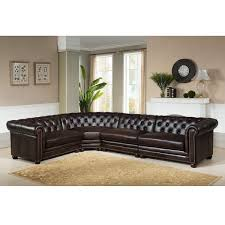 High End Leather Sectional Sofa Premium Top Grain Brown Tufted Leather Sectional Sofa Free
