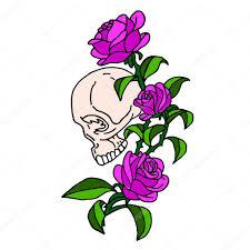 skull with roses on a white background skull icon skull logo