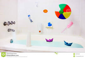 Child Bathroom Accessories by Fun In Bathroom Falling Toys Accessories Stock Photo Image