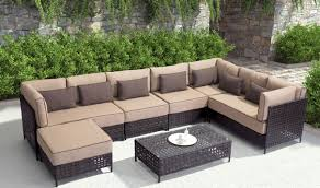 Pinery Outdoor Sectional Sofa In Brown  Beige By Zuo GetFurniture - Outdoor sectional sofas