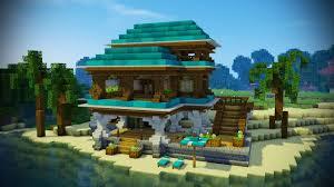 minecraft beach house tutorial minecraft house youtube