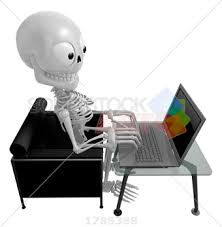 the couch series stock photo of 3d skeleton mascot sitting on the couch working on