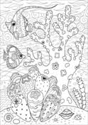 shark hunting in coral reef coloring page free printable