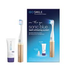 blue light whitening toothbrush on the go sonic blue teeth whitening kit by go smile