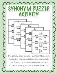 work resume synonyms synonym puzzle activity ideal for literacy stations or any small
