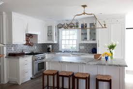 subway tile kitchen ideas gray subway tile backsplash kitchen with coastal style cape cod