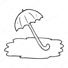 black and white cartoon wet umbrella u2014 stock vector