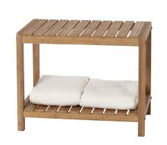 bathroom rectangle teak shower bench with towel stand for