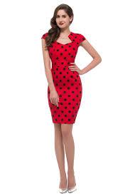 black polka dot red dress womens vintage pinup rockabilly v neck