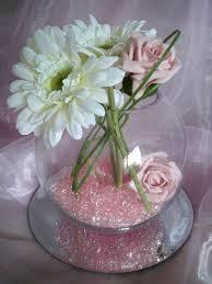 hire of large glass fish bowl vase centrepiece wedding flowers