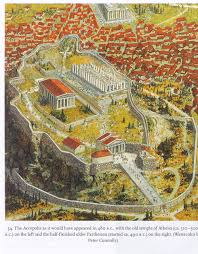 Athens Greece Map by Watercolor Ancient Acropolis Athens
