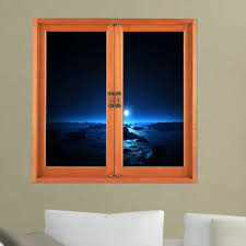dark view 3d artificial window view night 3d wall decals room pag