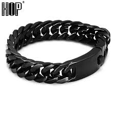 cuban chain link bracelet images Hip mens bracelet black color 316l stainless steel curb cuban link jpg