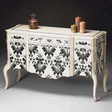 Moroccan Bathroom Vanity by Butler Console Cabinet Black On White Damask Traditional Bathroom