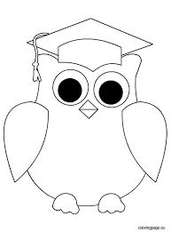 owl graduation coloring education owl