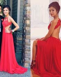 2017 red chiffon prom dresses halter backless spaghettis straps