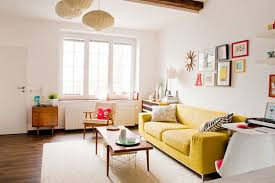 Modern Yellow Sofa Large U Shaped Yellow Sofa In The Centre Of An Open Plan Living
