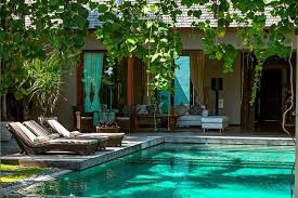 home design bali house with natural design and swimming pool