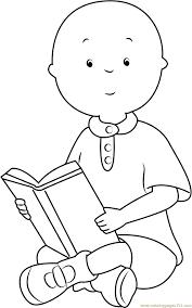 reading coloring page vector of a cartoon happy boy reading