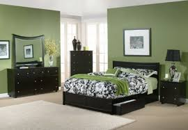 cool lime green bedroom color with entrancing black wood beds idea