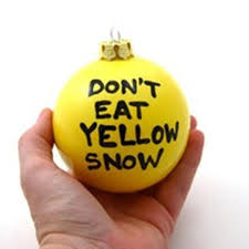 yellow snow fill with lemonheads write on the outside with black