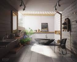 modern bathroom design ideas using a wooden accent as the main