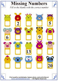 missing numbers counting worksheets