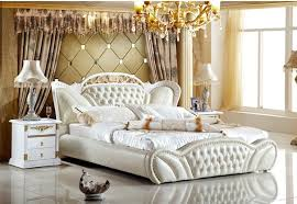 genuine leather bed elegant style white double person modern