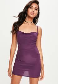 petite purple slinky cowl neck dress missguided ireland