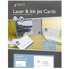 Ivory Business Cards Amazon Com Maco Laser Ink Jet White Business Cards 2 X 3 1 2