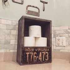 license plate toilet paper holder pick your state and wood