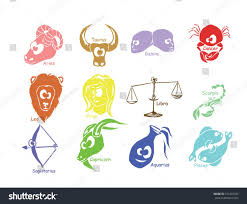 funny horoscope zodiac signs different color stock vector