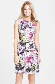 adrianna papell floral print pleat fit u0026 flare dress regular