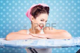 Bathtub Pinup Funny Pin Up Woman With Iron Tattoo Ironing Clothes Already