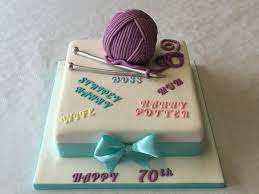 70th birthday cakes 70th birthday of wool and knitting needles cake