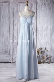 Light Blue Chiffon Dress Ruched Illusion Sweetheart Elegant Light Blue Chiffon Bridesmaid