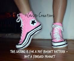 Pattern Crochet Converse Slippers | adult converse slippers crochet pdf pattern high top sneaker