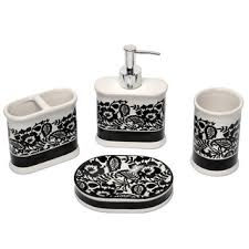 waverly esmee black and white bath accessory 4 piece set