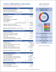 Excel Mortgage Calculator Template Home Affordability Calculator For Excel