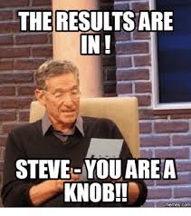 Meme Steve - the results are in steve you area knob memescom steve meme on