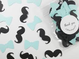 mustache baby shower decorations mustache bow tie confetti baby blue party cutouts boy