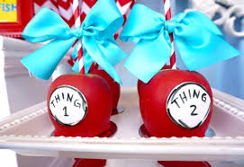 dr seuss birthday party ideas kara s party ideas thing 1 2 gourmet apples from a dr seuss